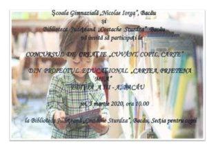 """Concurs de creație """"Cuvânt, copil, carte"""" @ Biblioteca Județeană """"C. Sturdza"""" Bacău - Secția pentru copii"""